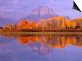 Oxbow Bend Reflecting Mount Moran Prints by Jeff Vanuga