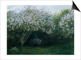Lilacs in Twilight or Resting Under the Lilacs Print by Claude Monet