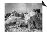 View of Mount Rushmore in Progress Poster by  Bettmann