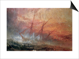 Detail of Sailing Ship from The Slave Ship Prints by J. M. W. Turner