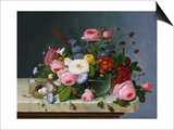 Still Life: Flowers on a Marble-Topped Table Prints by Severin Roesen
