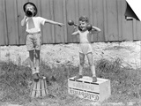 1930s-1940s Boys Playing Carnival Strongman ,One Lifting Dumbbells Other Announcing Act Posters