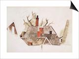 Red Chimneys Plakat av Charles Demuth