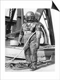 1930s-1940s Full Figure of Man in Underwater Diving Suit Print