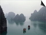 Junks in Ha Long Bay Poster by Catherine Karnow