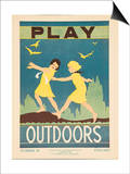1938 Character Culture Citizenship Guide Poster, Play Outdoors Poster