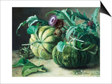A Still Life of Pumpkins and Artichokes Prints by Carl Vilhelm Balsgaard