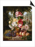 A Vase of Summer Flowers and Fruit on a Ledge in a Landscape Prints by William John Wainwright