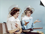 1960s 2 Women Sit under Beauty Salon Hair Dryers Clear Helmets Hoods Curlers Talking Gossip Posters