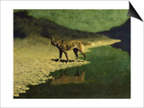 Moonlight, Wolf Prints by Frederic Sackrider Remington