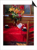 Flowers and Teapot on Red Print by Pam Ingalls