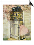 Illustration of a Little Girl Walking Through a Gate by Jessie Willcox Smith Prints
