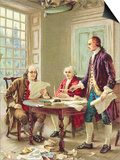 """The Drafting of the Declaration of Independence"" Trade Card After Painting by Jean Leon Germome Fe Art"