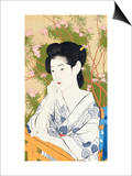 A Bust Portrait of a Young Woman Leaning on a Balcony Prints by  Goyo