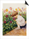 Illustration of a Child Smelling Tulips by Jessie Willcox Smith Prints