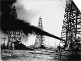 Oil Gushing from Spindletop Hill in Beaumont, Texas Prints