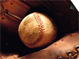 Old Baseball in Glove Prints by Danilo Calilung