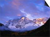 Sunrise on Snow-Covered Mountains Posters