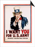 I Want You for the U.S. Army, Recruitment Print by James Montgomery Flagg