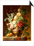 Roses, a Tulip, a Peony, Marigolds, Hollyhocks Poster by Johannes Hendrik Fredriks