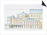Architectural Drawing Showing Lateral Elevation of Theatre Building by H. Monnet Posters by  Stapleton Collection
