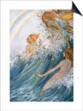 Book Illustration of Nymphs Riding a Wave by Florence Harrison Prints