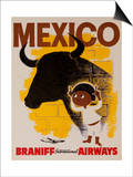 Braniff Airways Travel Poster Mexico Prints