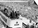 Tottenham Hotspur Players Parade FA Cup Trophy to Fans Gathered in Streets of North London Prints