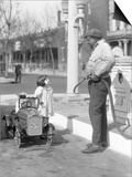 1920s Little Girl Standing Beside Her Pedal Car Asking for Gasoline Posters