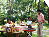 African American Family Backyard Picnic Barbecue Poster