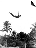 1940s Man Poised Midair Arms Out Jumping from Diving Board into Pool Posters