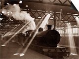 Steam Train Leaving Euston Station, April 1928 Prints