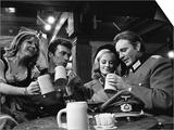 1968 Film Where Eagles Dare: Clint Eastwood, Richard Burton, Mary Ure and Ingrid Pitt - Tablo