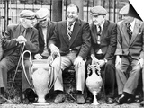 Former Manager of Liverpool Bob Paisley with European Cup and Football League Championship Trophy Poster