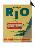Braniff International Airways Travel Poster, Rio De Janiero Cable Car Art