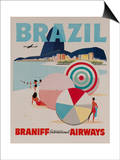 Braniff Airways Travel Poster, Brazil Posters