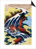 Yoshino Waterfall: Yoshitsune Washing His Horse, from the Series A Journey to the Waterfalls of All the Provinces Kunstdrucke von Katsushika Hokusai