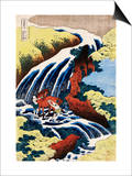Yoshino Waterfall: Yoshitsune Washing His Horse, from the Series A Journey to the Waterfalls of All Posters by Katsushika Hokusai