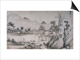 Figure Crossing a Bridge from Album of Eight Landscape Paintings Posters by Shen Chou