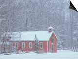 Old Red Schoolhouse and Forest in Snowfall at Christmastime, Michigan, USA Prints by Mark Carlson