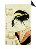 Portrait of the Teahouse Waitress Naniwaya Okita Serving a Cup of Tea on a Tray Prints by  Utamaro