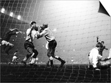Bobby Charlton Jumps After Brian Kidd Goal 1968. Manchester United Against Gornik in European Cup Posters