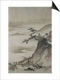 View of Mountains and a Bridge from Eight Views of the Xiao and Xiang Rivers Poster by  Shokei