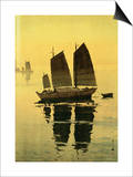 Mist, from a Set of Six Prints of Sailing Boats Posters by Yoshida Hiroshi