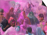 People Throwing Color Powder and Water on Street, Holy Festival, Barsana, India Prints by Keren Su