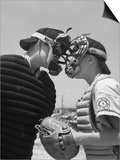 1950s Boys in Baseball Uniforms Face to Face Arguing Umpire and Catcher Posters