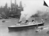 SS Normandie in New York Harbor Prints