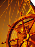 Wooden Steering Wheel on Sailboat Prints by Jack Hollingsworth