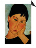 Detail of Female Head from Elvira Resting at a Table Print by Amedeo Modigliani