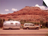 1970S Station Wagon Trailer Rv New Mexico Highway Tourist Man Woman Posters by Joseph Wright